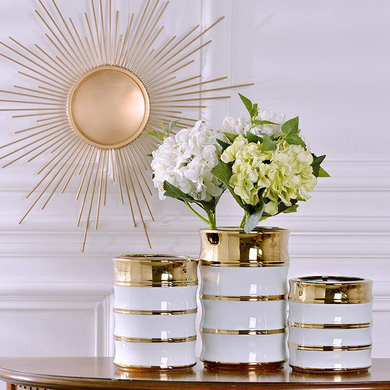Florero de cerámica simple chino blanco dorado florero decoración del hogar sala de estar comedor Decoración