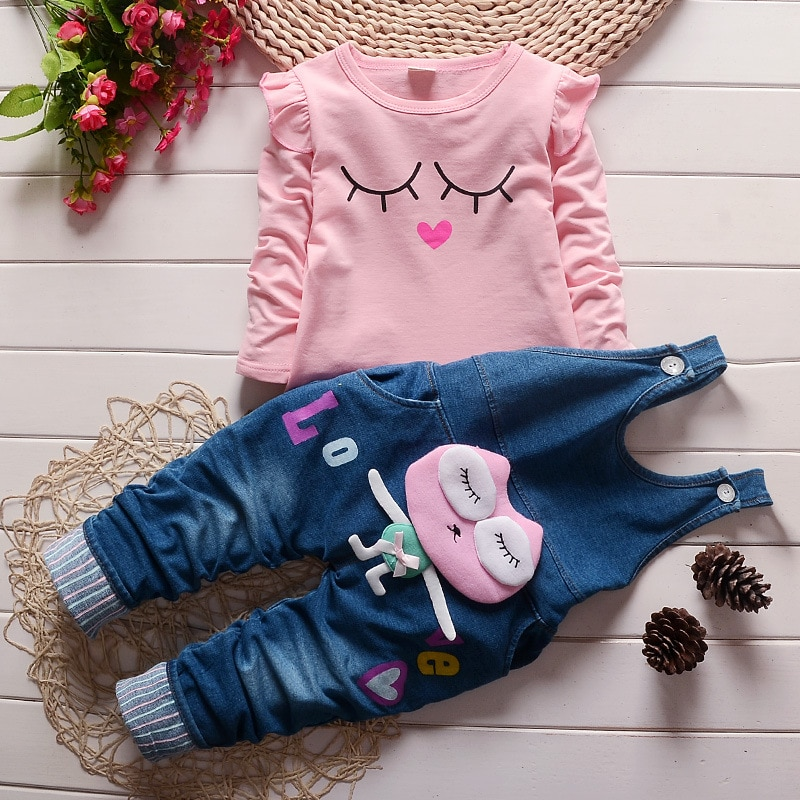 New  Baby Girl Clothes TWO PIECES T-shirt and Jeans Suit Bebek Giyim Clothing