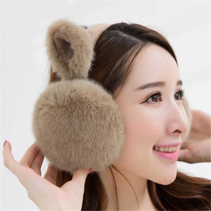 VISNXGI de las mujeres de la moda de piel de invierno calentador del oído orejeras gato lindo orejeras Earlap invierno Faux Fur diademas orejeras más