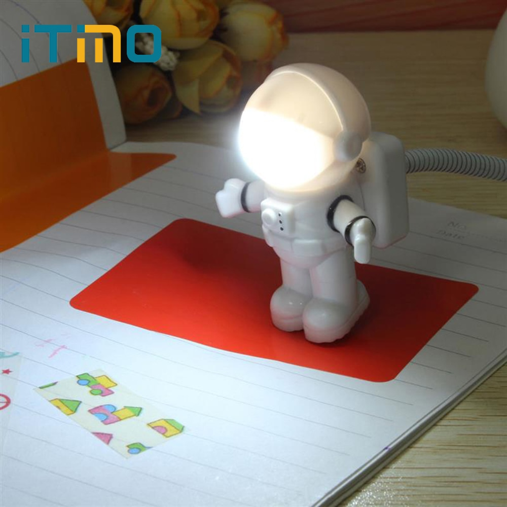 Мини лампа для чтения USB трубка для компьютера ноутбука ПК ноутбук чистый белый портативный космонавт светодиодный ночник регулируемый светильник