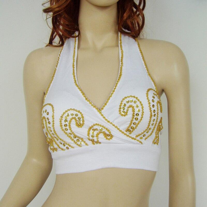Mujeres mujeres danza del vientre traje bordado de cuentas chaleco blusa Top Bra Yoga Top Bra 10 colores