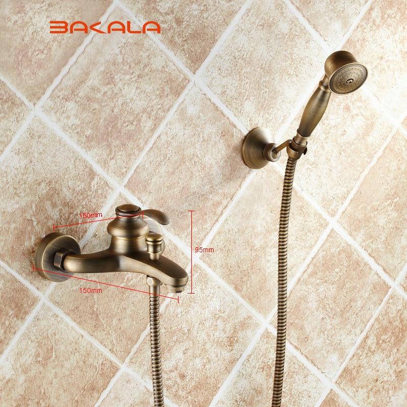 Grifo de bronce grifo de ducha montado en la pared baño bañera grifo de ducha de mano grifo mezclador GZ8301