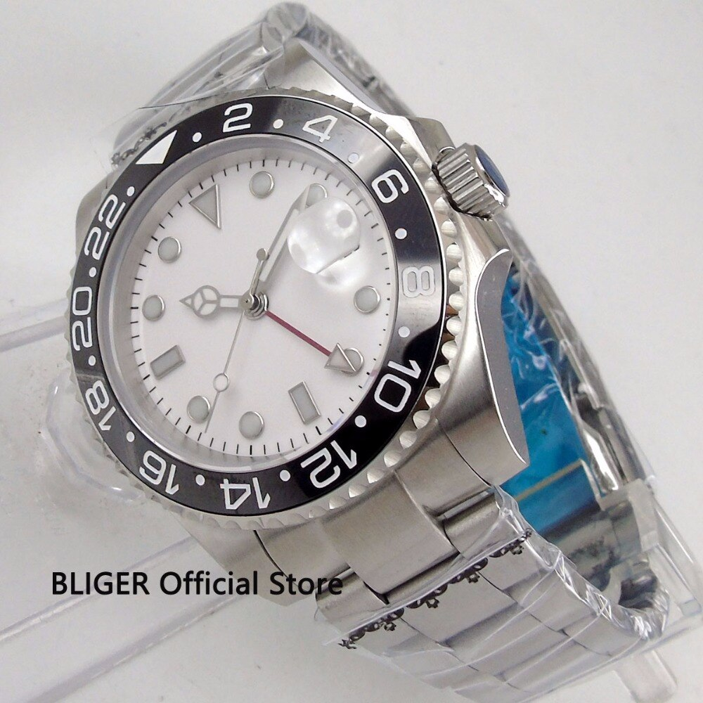 Cristal de zafiro BLIGER 40mm blanco esterilizado para hombre reloj bisel de cerámica indicador de fecha luminoso GMT MINGZHU movimiento automático