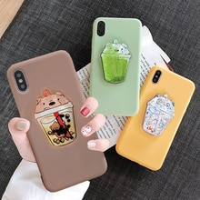 Lovely Drink Cup Case for Samsung Galaxy A3 2017 A5 2018 A6 Plus A7 2019 A8 Plus A80 A9S A90 Cute Squishy Bear TPU Cover