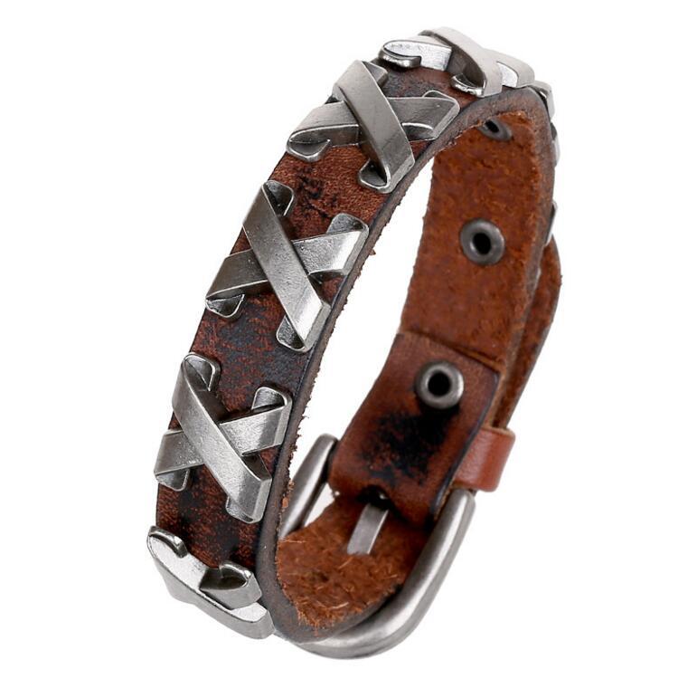 Legal 100% couro genuíno grosso masculino pulseira de metal cruz rebites cravejado manguito pulseira única fivela cinto pulseira pulseras hombre
