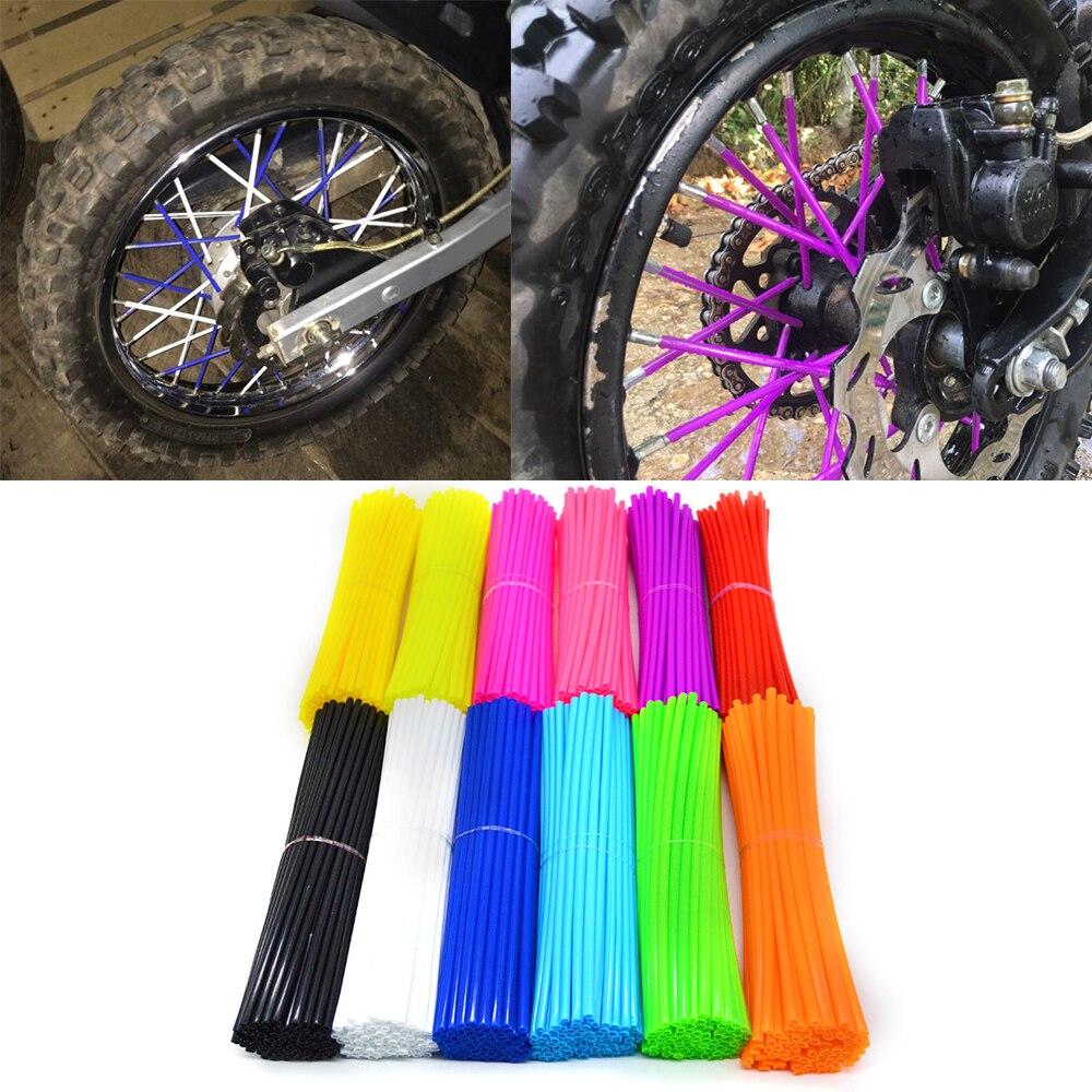 72 unids/pack Universal de la motocicleta de la bici de la suciedad rueda de enduro habló con pieles cubierta de llanta de rueda habló secreto de la motocicleta Protector