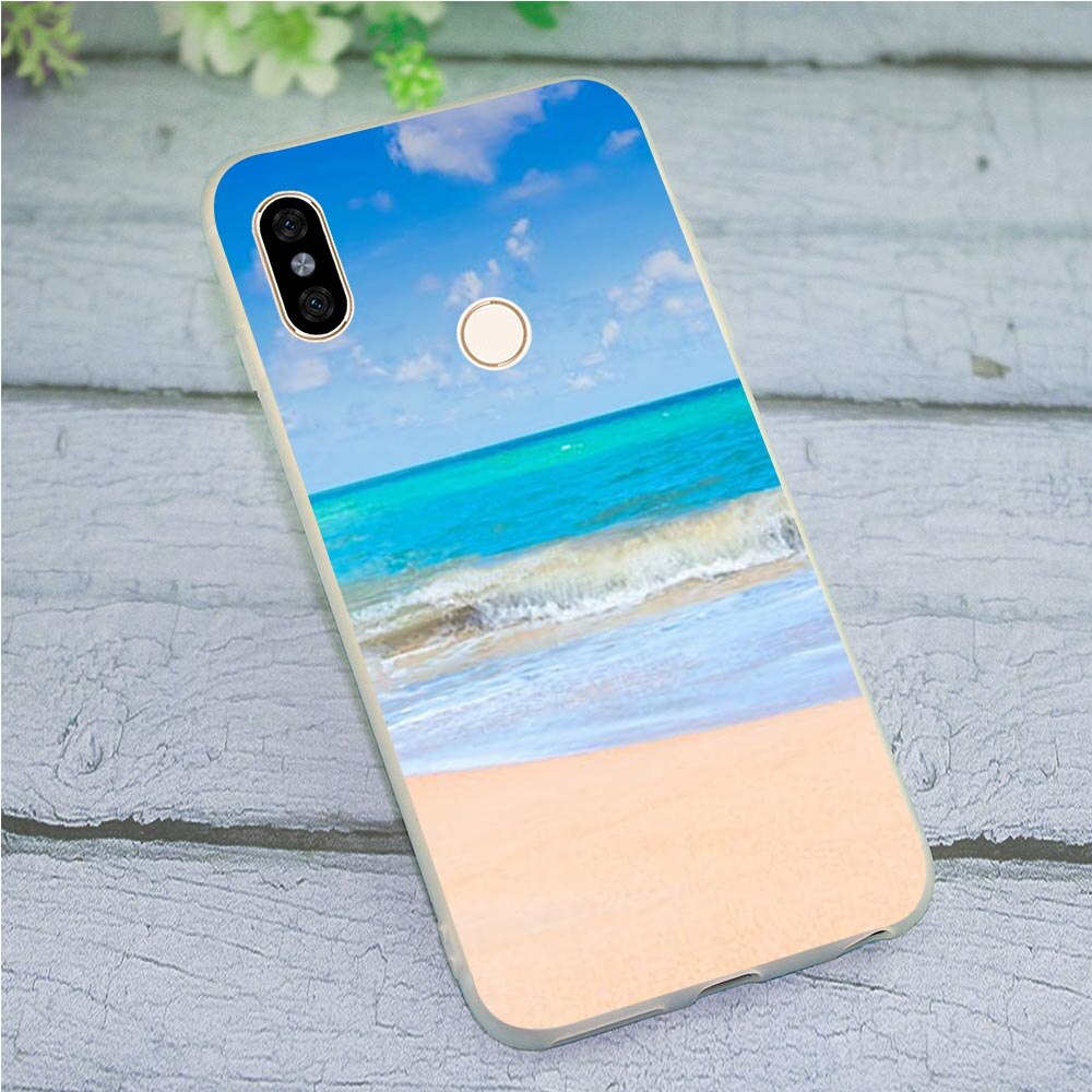 Funda de móvil suave de TPU para Redmi Nota 5 Pro Mar Océano caso 4X A2 A1 4A más 5A primer 6A 7 6 para Xiaomi Mi 9se 9 11 Lite a prueba de golpes a prueba