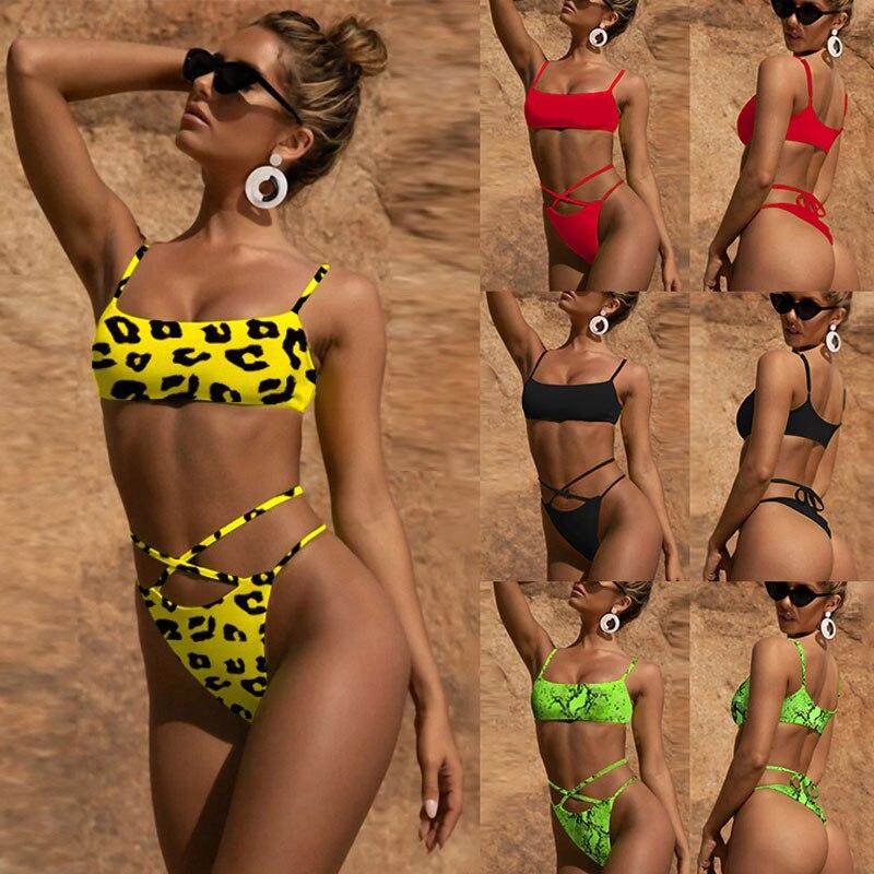 Sólido Sexy correas espaguetis Bikini mujer leopardo piel de serpiente traje de baño de mujeres traje de baño Bikini Baño