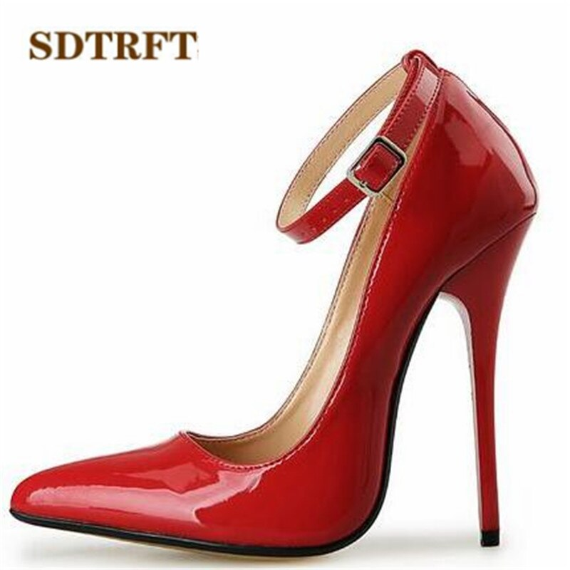 SDTRFT US9-14 15 16 17 18 Lente Goud Bodems Lakschoenen Rode Enkelband Puntschoen Bruiloft pompen Crossdresser mujer