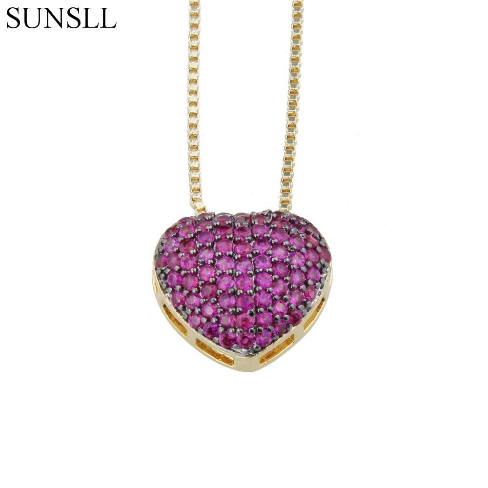 SUNSLL Golden & Silver Color Copper Cubic Zirconia Love Heart Trendy Pendant Necklaces Womens Fashion Jewelry CZ Colar Feminina