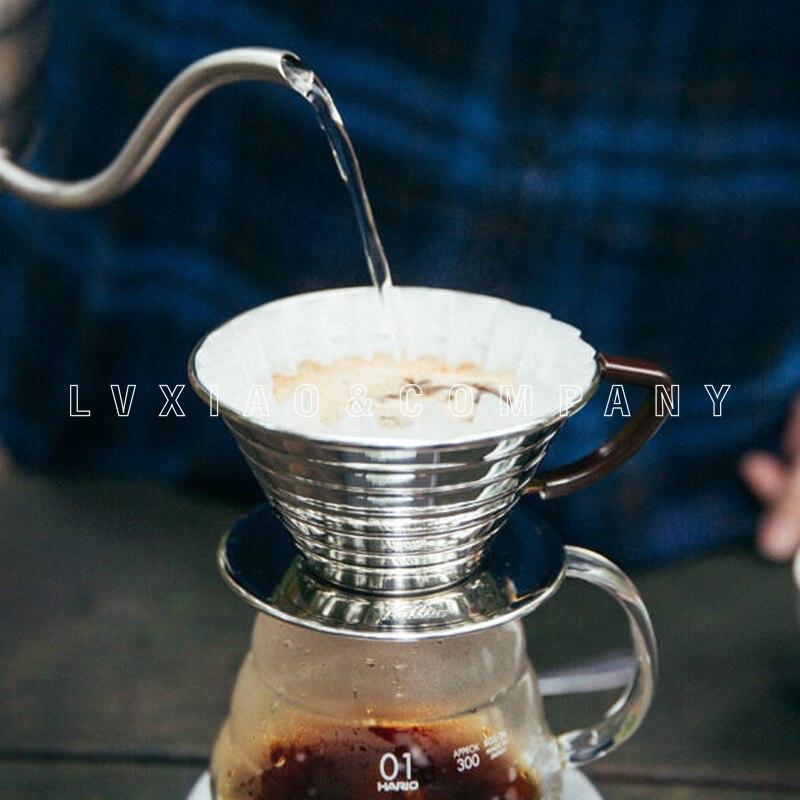 Kalita-فلاتر تقطير قهوة مموجة من الفولاذ المقاوم للصدأ ، 3 فتحات ، مقاس 1-2/2-4 أكواب ، فضي
