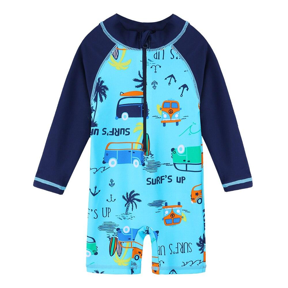 BAOHULU bebé niño traje de niño de dibujos animados coche UPF50 + niños traje de manga larga de una sola pieza lycra niños trajes de baño