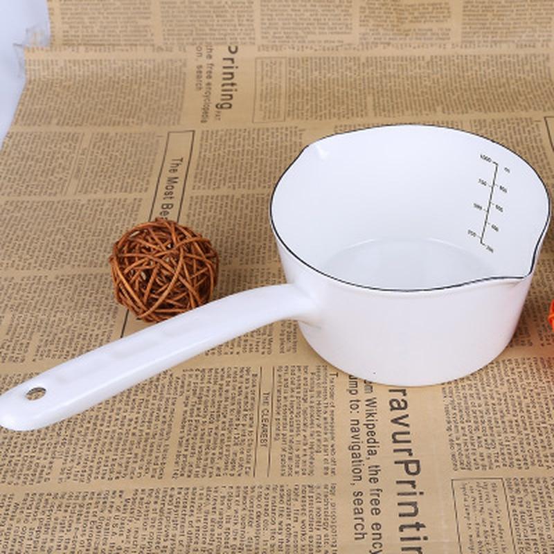 وعاء مطبخ صغير من المينا على الطريقة اليابانية بسعة 1.3 لتر ، للحليب ، والمخزن ، وطعام الأطفال ، مع مقبض لشخص واحد