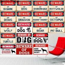 Остерегайтесь собак, винтажная металлическая жестяная вывеска, домашний декор, для паба, кафе, клубов, барные таблички, Dragon Doug, декоративный настенный плакат, художественная живопись A945
