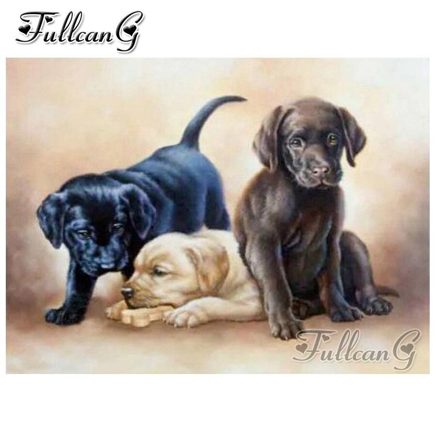 FULLCANG diy quadrado/rodada broca labrador naughty dog 5d pintura diamante mosaico bordado cheio animal cross stitch kit FC626