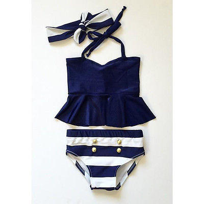 Kids Baby Girls Bikini Suit Navy Swimsuit Striped Swimwear Bathing Swimming Clothes 3PCS A Sool and Refreshing Hot Summer Gift