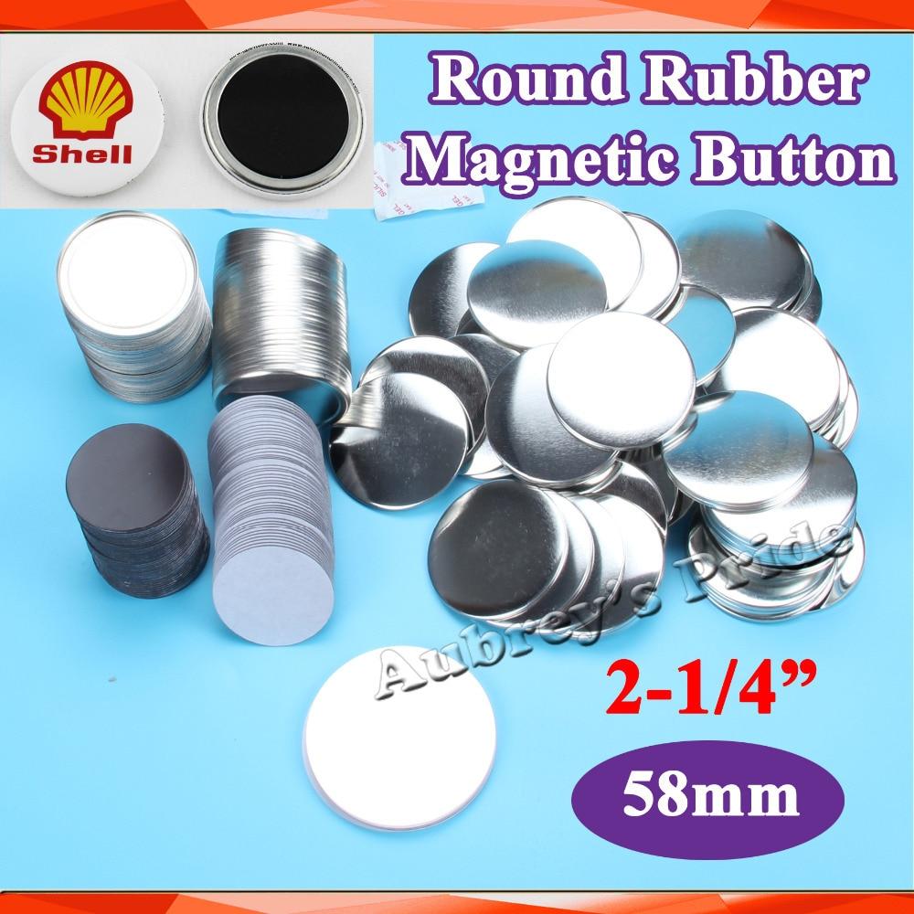 """2-1/4 """"58mm 100 Sets nuevo profesional de goma suave magnético botón fabricante Metal Back materiales de suministro de botones"""