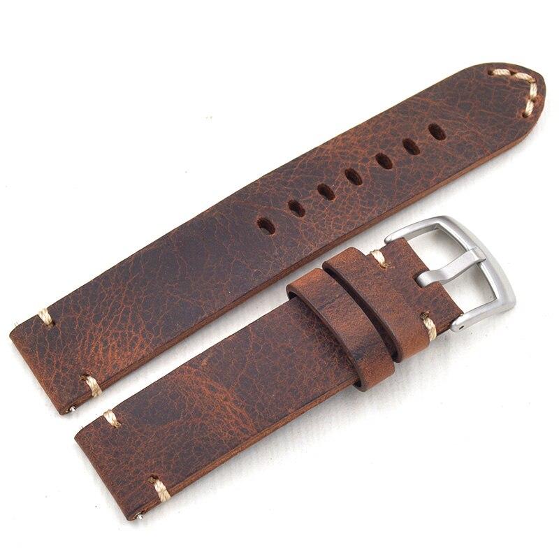 Correa de cuero genuino Retro 18 19 20 21 22mm excelente reloj para hombre para Seiko para Mido Omega correa de reloj pulsera femenina