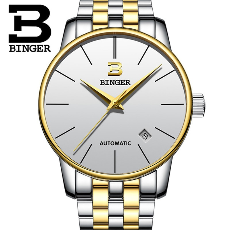 Luxury Fashion simple Relogio Men Automatic Mechanical Watches Fashion Gold Silver Waterproof Sport Business Watch Male Clock