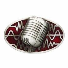 Retail Distribute Microphone Rock Music Red Enamel  Belt Buckle BUCKLE-MU072RD  Free Shipping