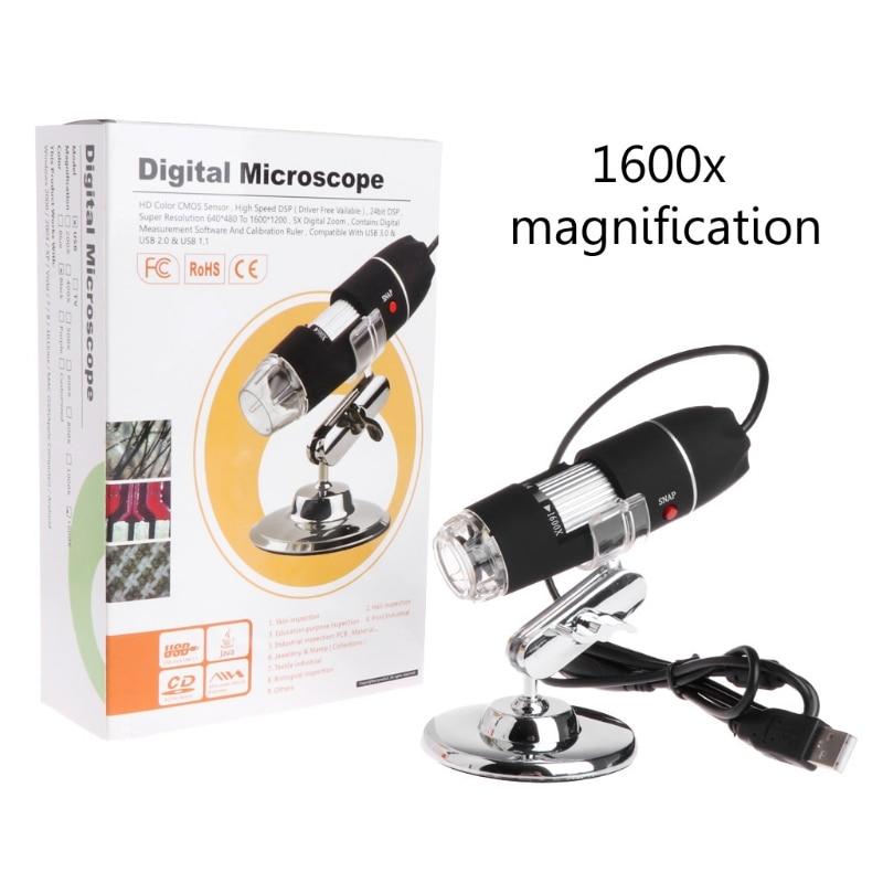2019 de alta qualidade novo 1600x 2mp zoom microscópio 8 led usb digital handheld lupa endoscópio câmera