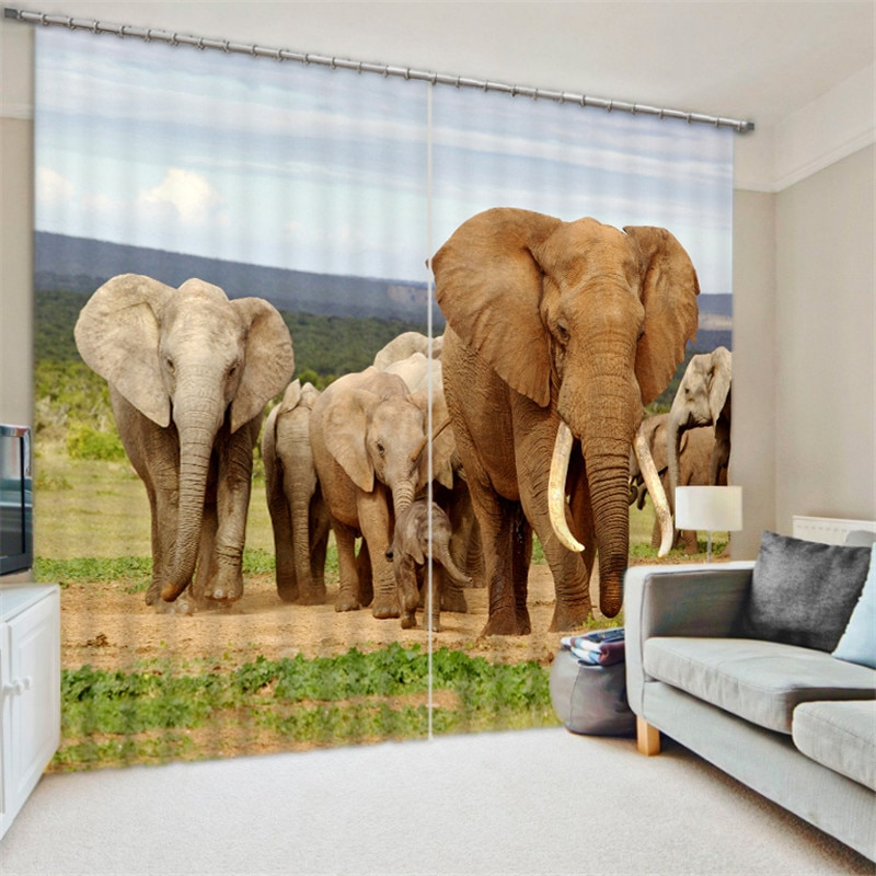 Luxury Elegent 3D Elephant Photo Printing Blackout Window Curtain For Living room Bedding room Decoration Drapes Cortinas