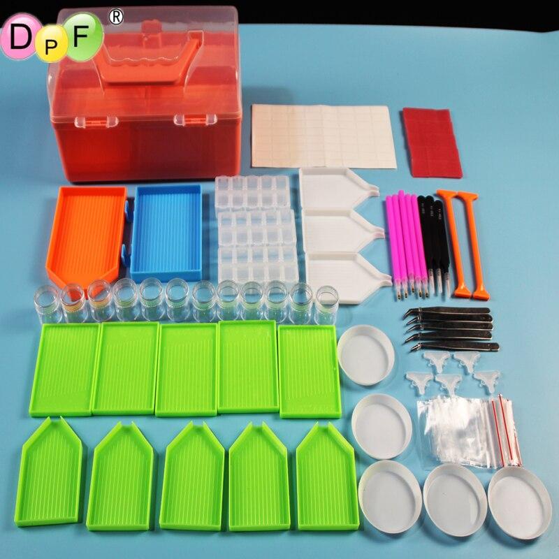 DPF 5D herramientas de pintura de manualidades de diamantes, Kits completos de pintura de diamantes, accesorios de punto de cruz, caja completa, carcasas DIY conveniente