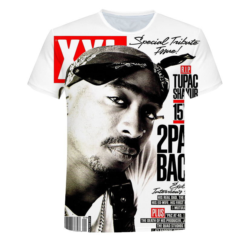Футболка в стиле хип-хоп, Мужская футболка с 3d принтом Tupac Amaru Shakur/2Pac, летняя свободная футболка, 2019