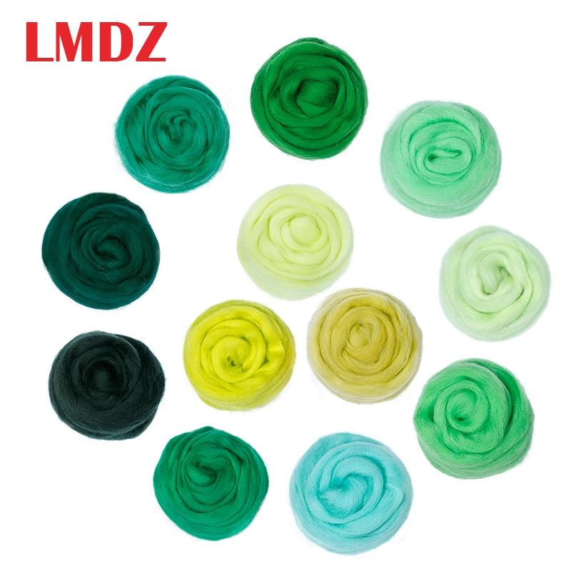 LMDZ 1 stücke 50g Grün Farben Spinning Nähen Trimmen Wolle Fibre Garn Roving für Nadel Filzen Hand Spinning DIY handwerk Materialien