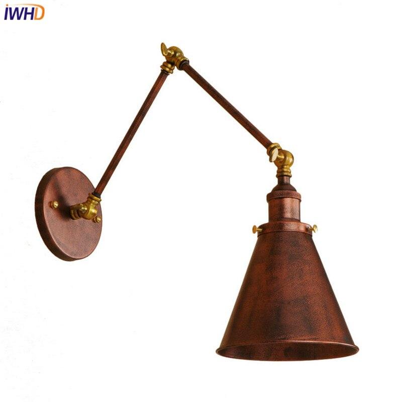 iwhd longo braco lampadas de parede do vintage led wandlamp retro luzes de parede