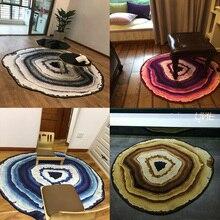 Tapis de sol géométrique irrégulier   Art abstrait, tapis à anneaux annuels, tapis persan lavable de Style Milan, grand tapis de cuisine scandinave