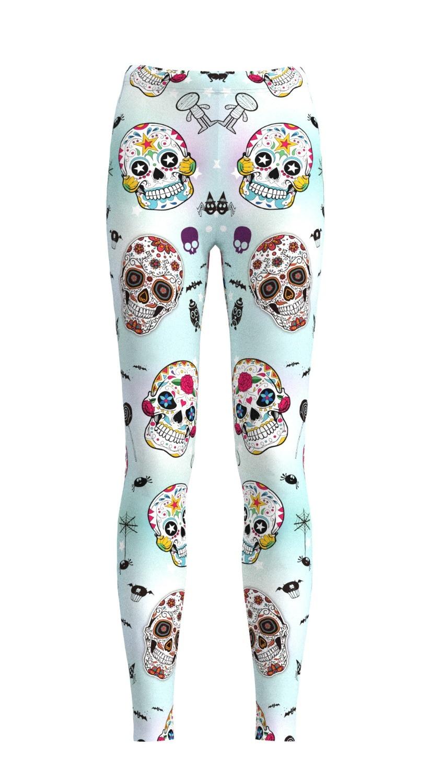 Pantalones elásticos informales con estampado Digital 3D color claro calaveras con estampado de calaveras para mujer 6 tallas ropa deportiva envío gratis