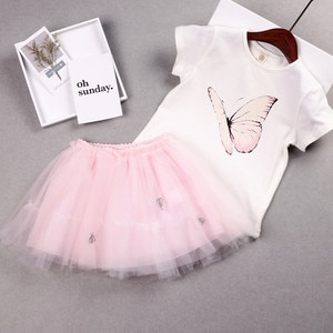 2019 New Baby Girl Summer Clothing Set Sweet Butterfly Tees Shirts+TUTU Skirts,Girls Kids Princess Suits Children Clothes