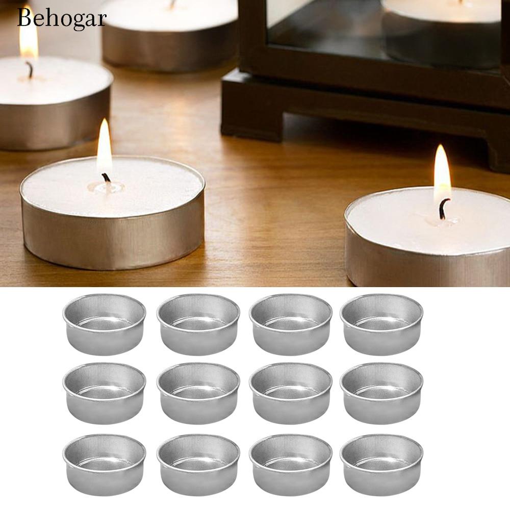 Behogar, 12 Uds., envases vacíos de velas de té, moldes de tarros de latas, suministros para fabricación DIY, fabricación de velas, accesorios, herramientas