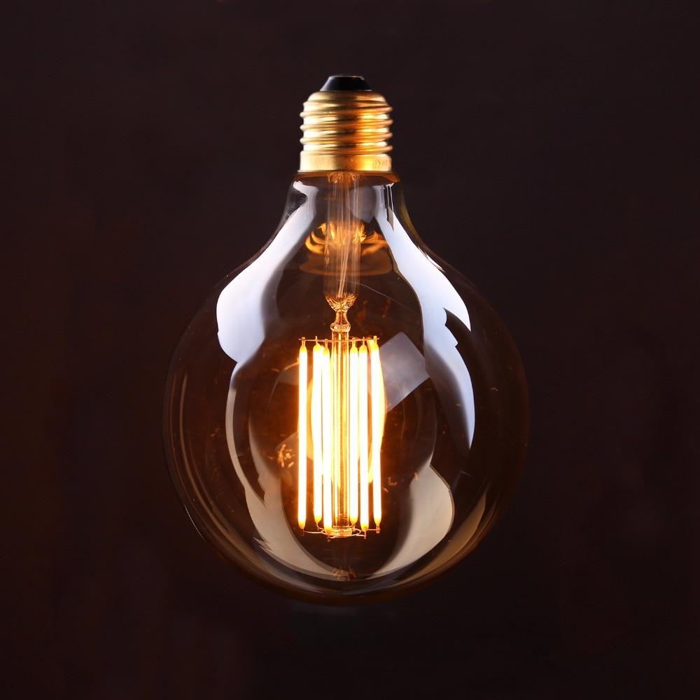 Vintage LED Lange Glühlampe, Gold Farbton, Edison G125 Globus Stil, 4 W 6 W 2200 K, Retro Dekorative Lampe, Dimmbar