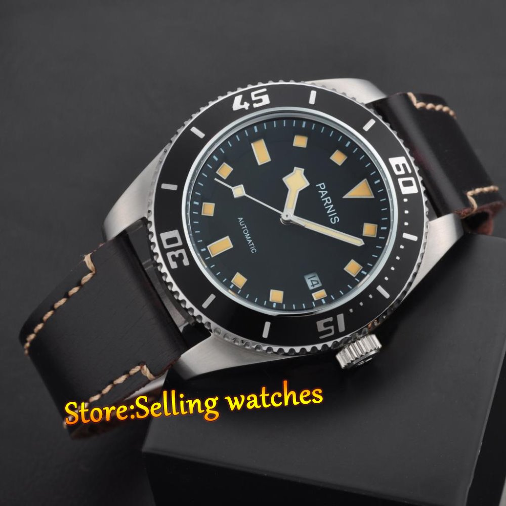 43mm Parnis Japón MIYOTA 821A zafiro cristal hombres movimiento automático reloj