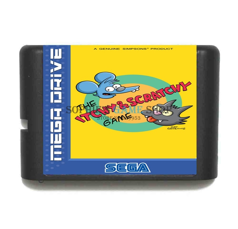 Itchy and Scratchy  Game Cartridge Newest 16 bit Game Card For Sega Mega Drive / Genesis System