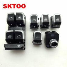 SKTOO Chrome Mestre Janela Interruptor Levantador Interruptor + Tronco + Interruptor Espelho Lateral com dobradura Para Audi Q5 B8 B9 A4 A5