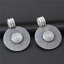 10 шт Серебряный цвет круглые подвески с небольшой спиральной подвеской в поисках ожерелье самодельные Украшения, Аксессуары оптом 31x23 мм A3050