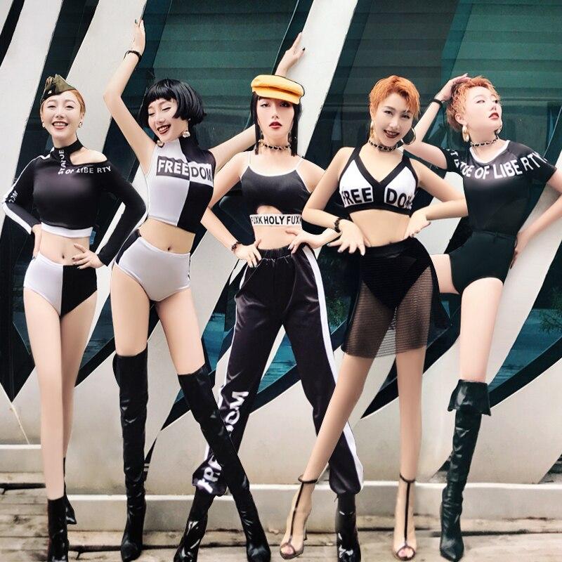 Traje de baile de jazz Hip Hop negro Sexy para discoteca Cantante Femenina Dj Bar disfraces baile en barra ropa de actuación DL3484