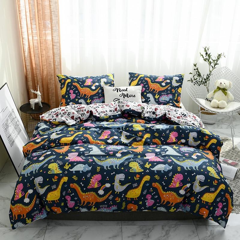 Juego de cama de dinosaurios de dibujos animados, doble juego de sábanas cama tamaño nórdico twin, funda de almohada, juego de cama real para adultos