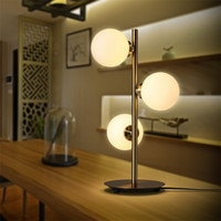 3 Heads Nordic Minimalist Art Molecular Table Lamp Romantic Golden Creative Metal Glass Ball Bedside Cafe Study Led Lighting
