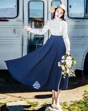 High Quality  Hot Sale  Autumn  Winter New Arrival   Peter Pan Collar  Color Block Collest Waist Woman Long Dress