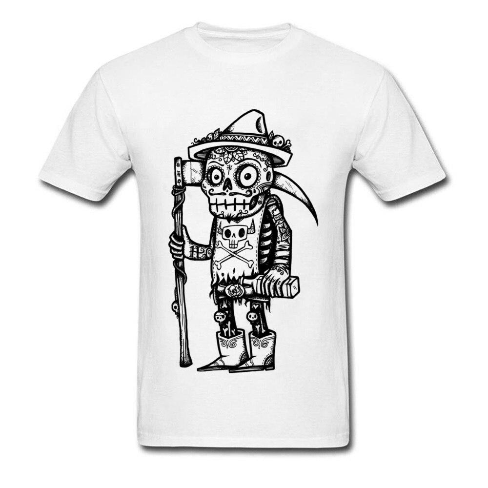 Camiseta divertida del Día de la muerte, camiseta de hombre, camiseta de Calavera, ropa de estilo mexicano, Tops de algodón blanco, camiseta Steampunk Grim Reaper