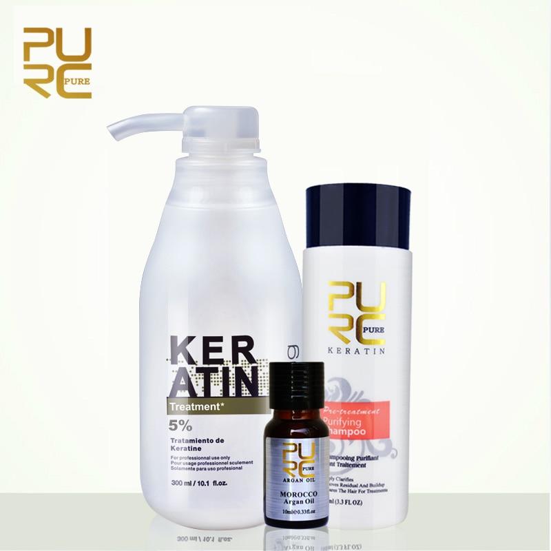 Tratamiento para alisar el cabello de queratina brasileña PURC queratina 5% formalina y champú purificador de 100 ml regalo gratis aceite de argán