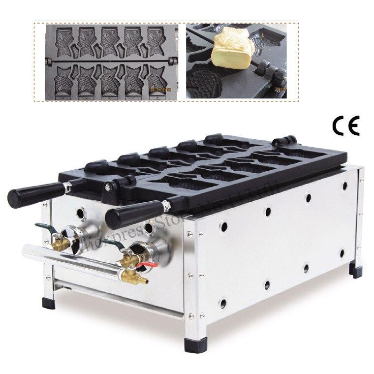 Máquina de helado Taiyaki máquina de Gas Tipo 5 moldes de Waffle de pescado abierto Taiyaki máquina de aperitivos de calle