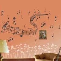 1Pc Stickers muraux mode amovible Notes de musique bande chambre maison Stickers muraux autocollants vinyle bricolage decor Art 60 40cm