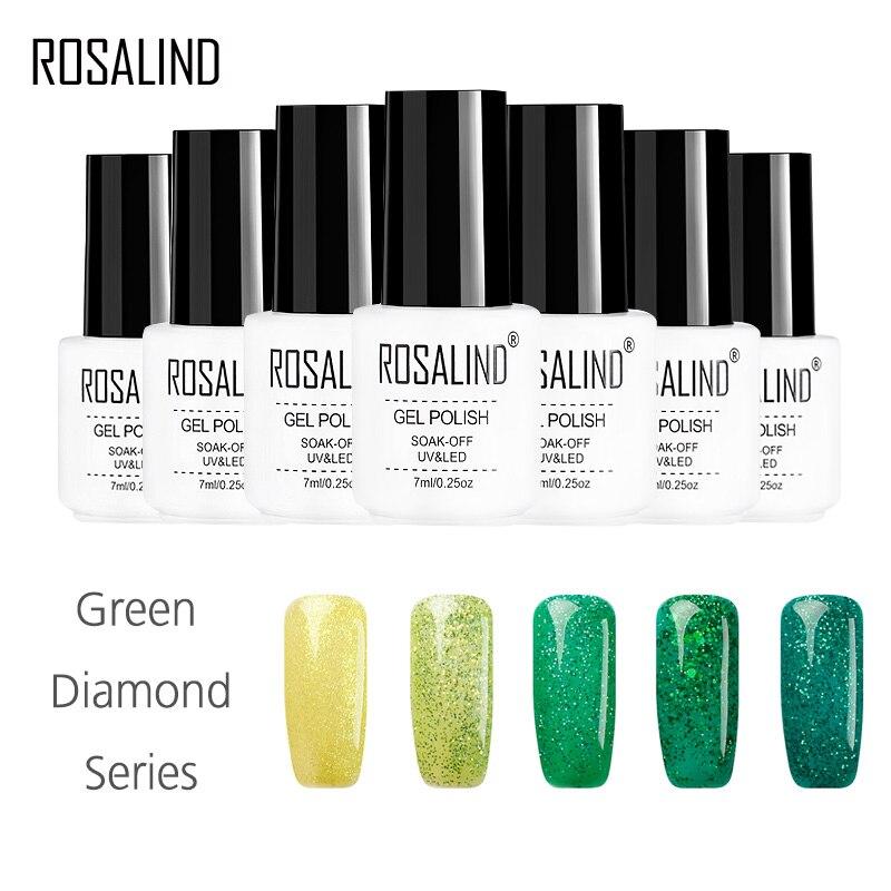 ROSALIND Gel 1S 7ML Lacquer Diamond Gitter Nail Gel Polish Shimmer Semi Permanent UV LED Soak-Off Gel Varnishes Blue Green Color