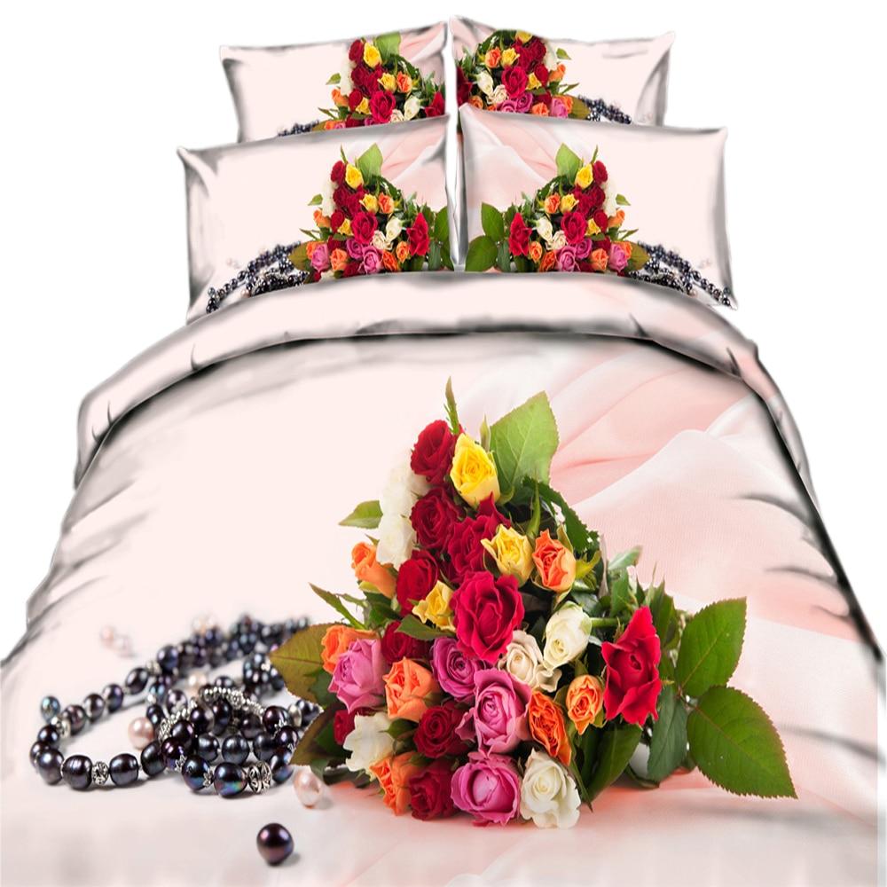 Ensemble de literie 100% coton imprimé 3d   Rose noir coloré, perle, ensemble couette, coque, housse de couette en coton, vêtements de lit 3/4 pièces