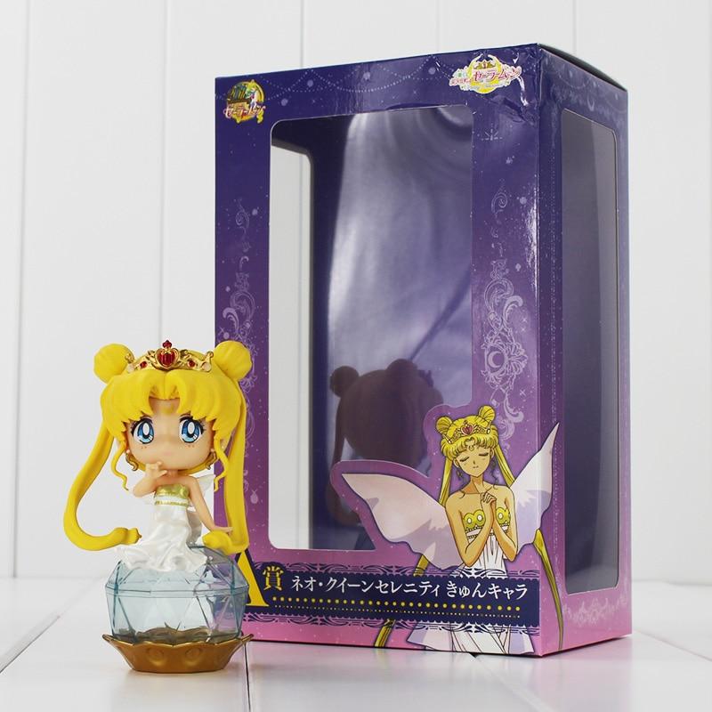 2 unids/lote Sailor Moon figura de acción princesa Tsukino versión Q ojos grandes corona de rubí pelo amarillo Base de cristal juguetes con caja